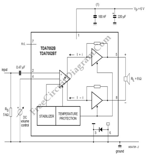 Audio Amplifier With Volume Control Tdab Circuit