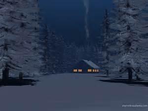 Cabin Snow at Night
