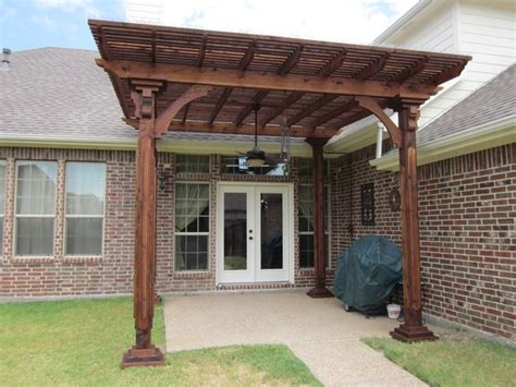 stained cedar lattice patio cover dallas by best