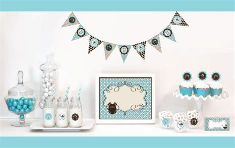 brown and baby blue baby shower decorations blue and brown baby shower decorations baby shower by modparty