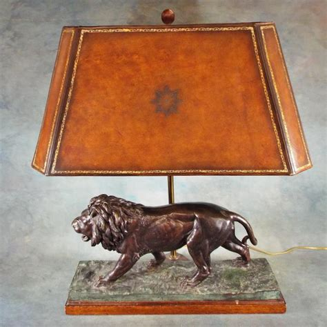 maitland smith bronze lion l w leather shade 28 quot h