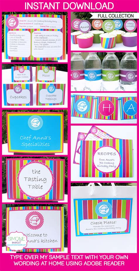 cooking party printables invitations decorations
