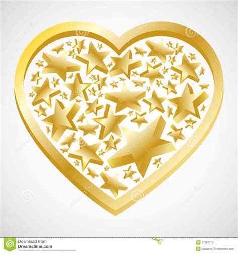 abstract gold heart  stars  valentine card stock