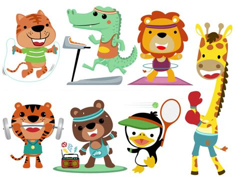 dieren sport collectie set premium vector