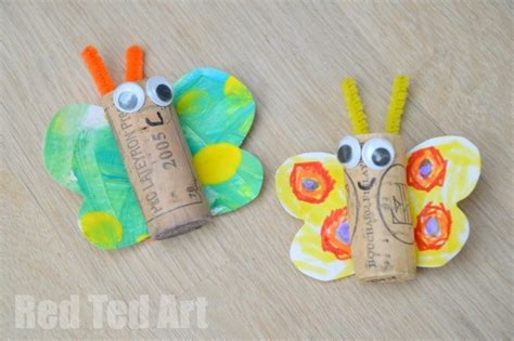 35 butterfly crafts ted s 875 | Kids Art Butterfly Cork Crafts 600x399