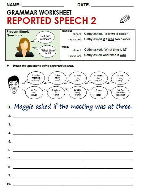 worksheet reported speech pdf livinghealthybulletin