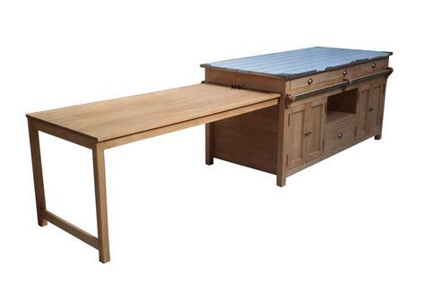 table cuisine pin ilot central cuisine en bois uzes