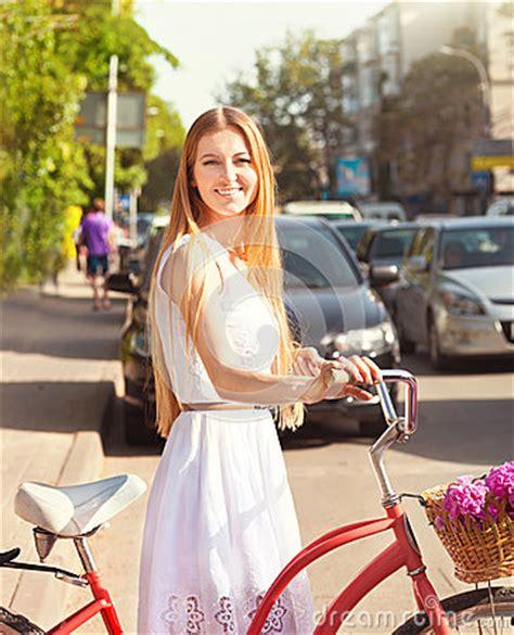 pretty blonde girl  retro  bike  basket
