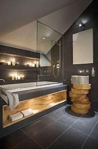 Salle De Bain Bois : inspiration salle de bain salle de bain moderne ardoise et bois massif deco pinterest ~ Teatrodelosmanantiales.com Idées de Décoration
