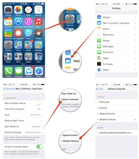 iphone default apps how to set default calendars alert times sync options