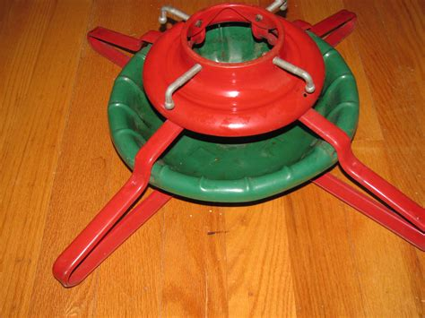 vintage large metal christmas tree stand heavy duty red