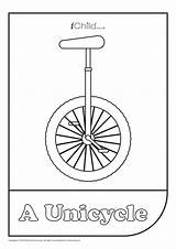 Unicycle Colouring Activity Ichild sketch template