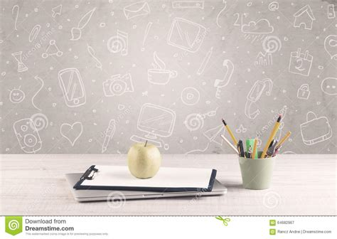 Desk Background Design Office Desk With Drawings Background Stock Image