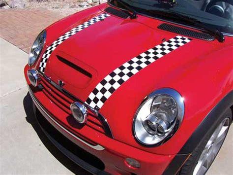 Mini Cooper Bonnet Stripes Checkered Magnetic R50