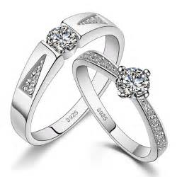 wedding bands for couples his hers matching sterling silver rings cz wedding band set yoyoon 8704