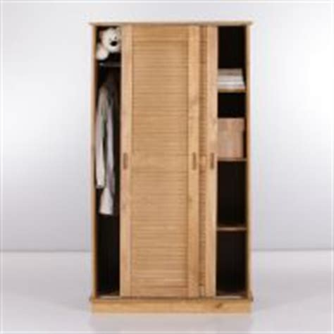 armoire 2 portes persiennes coulissantes en pin massif