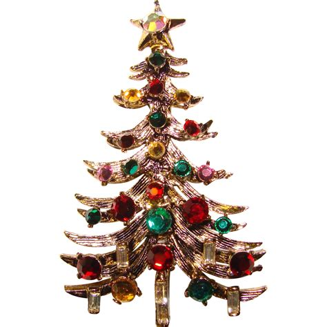 fabulous hollycraft vintage christmas tree brooch from