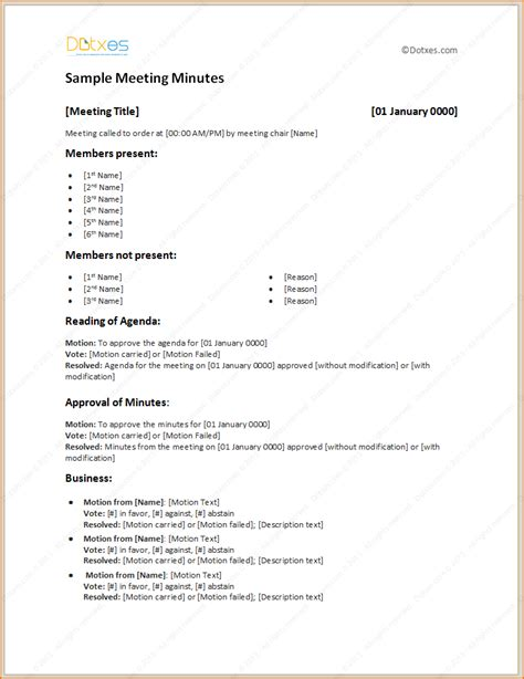 Meeting Minutes Template 4 Sle Meeting Minutes Template Teknoswitch