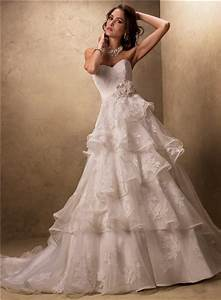 ball gown sweetheart layered ruffled tulle lace wedding With layered lace wedding dress
