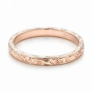 Custom rose gold hand engraved wedding ring 101619 for Personalized wedding rings