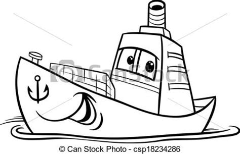 Balangay Boat Drawing by Container Ship Coloring Page Black And White
