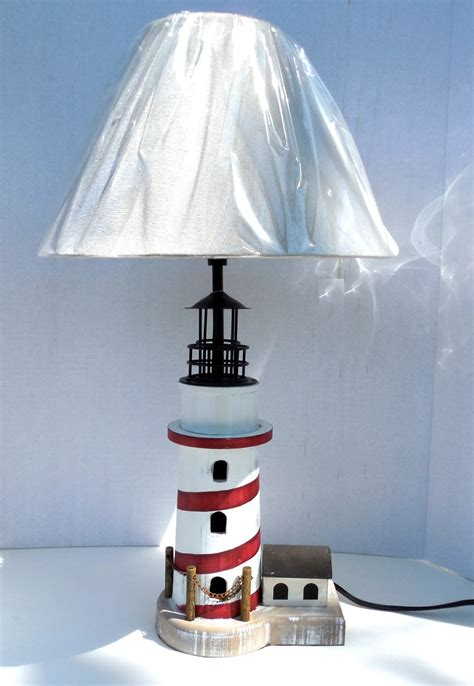 Robin's Dockside Shop  Redwhite Lighthouse Table Lamp