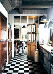 Sol Vinyle Cuisine : sol vinyle damier noir et blanc 13 cuisine avec sol en ~ Farleysfitness.com Idées de Décoration