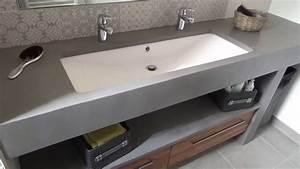 Meuble salle de bain beton cire sur mesure atlantic bain for Salle de bain design avec lavabo salle de bain 40 cm