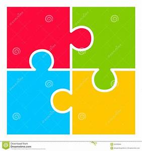 Four Part Puzzle Diagram Stock Vector