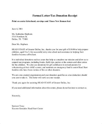 donation letter sample  examples   word
