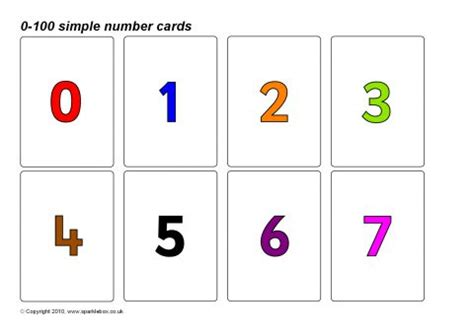 simple   number cards coloured numbers sb