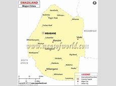 Cities in eSwatini Swaziland, Map of eSwatini Swaziland