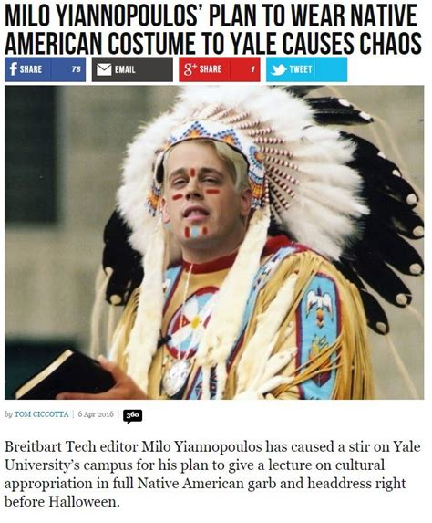 Milo Yiannopoulos Memes - milo yiannopoulos wears native costume