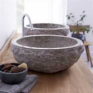 salle de bain pierre et bois une beaute naturelle With salle de bain design avec vasque pierre reconstituée