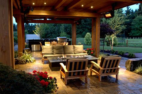 Patio Area Ideas by Cozy Country Style Patio With Pit Hgtv