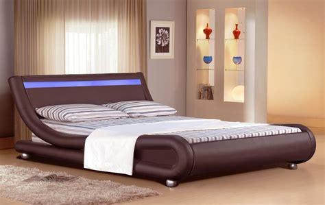 italian designer faux leather bed  led strip ft ft