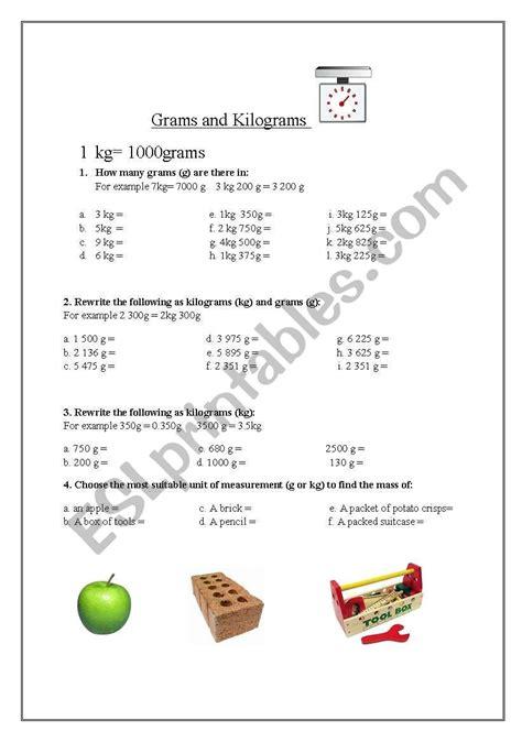 english worksheets weight grams  kilograms