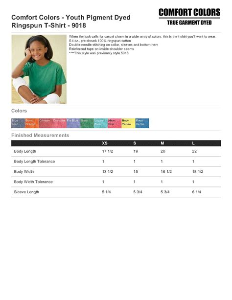 comfort colors size chart comfort colors 9018 youth pigment dyed ringspun t shirt