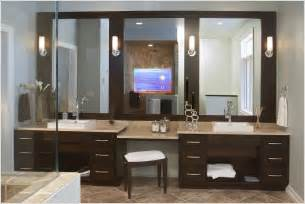 double vanities with dressing table in the bathroom