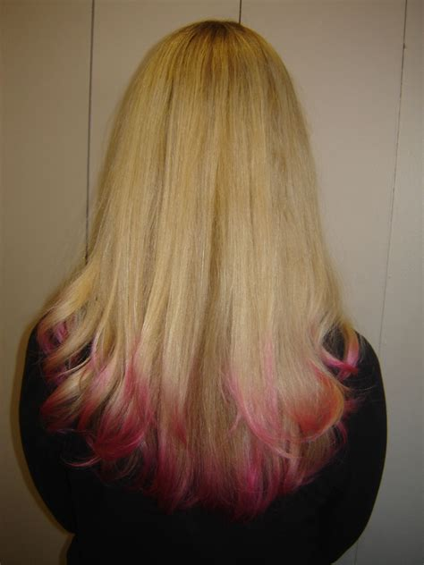Blonde With Pink Tips Hair Pinterest