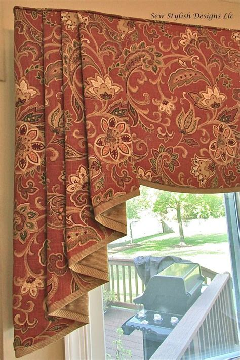 closeup  sophisticated linen valance  pleated jabots