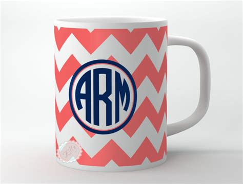 Coral chevron monogram Coffee Mug personalized by ButterflyGhost