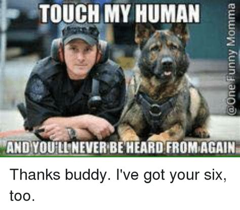 Thanks Buddy Meme - touch my human and you lineverbe heard fromagain thanks buddy i ve got your six too meme on sizzle