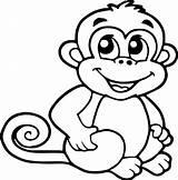 Monkey Coloring Cartoon Smile Monkeys Drawing Sheets Crafts Drawings Animated Printable Children Stackbookmarks Mamvic Ingrahamrobotics Simple sketch template