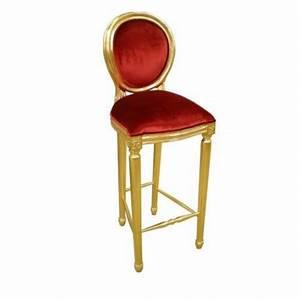 Chaise De Bar Rouge : chaise de bar velours rouge et or ~ Teatrodelosmanantiales.com Idées de Décoration