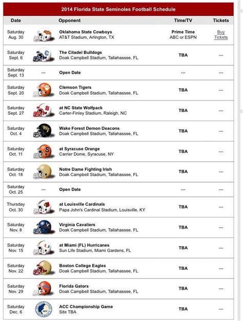 fsu football schedule florida state seminoles pinterest football