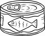 Fish Canned Cartoon Sardine Vector Coloring Tuna Clipart Sketch Illustration Drawing Sardines Animal Illustrations Clip Drawings Drawn Isolated Cliparts Designlooter sketch template