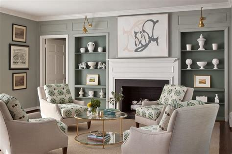 Green And Grey Living Room Walls by Living Room With Gray Bookcases Transitional Living Room