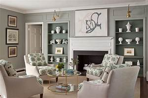 Living room with gray bookcases transitional living room for Green and gray living room
