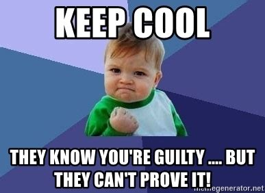 Keep Cool Meme - keep cool they know you re guilty but they can t prove it success kid kid meme generator